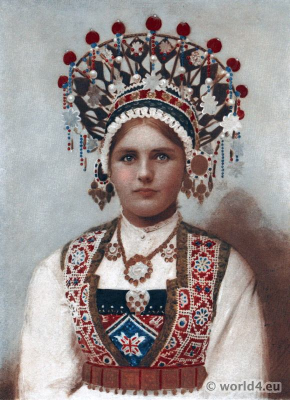 Norwegian folk dress bridal costume headdress. Henry Neville Hutchinson. Living Races of Mankind.