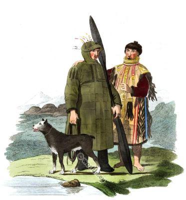 Traditional Unalaska, Aleutian Islands folk dresses. Traditional Russian national costume