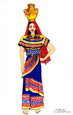 Latin american folk dress. Traditional Panama Folk Costume