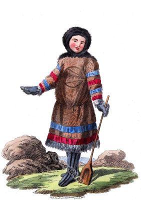 Samoyed, Nenets indigenous people folk dress. Northern arctic Russia costume