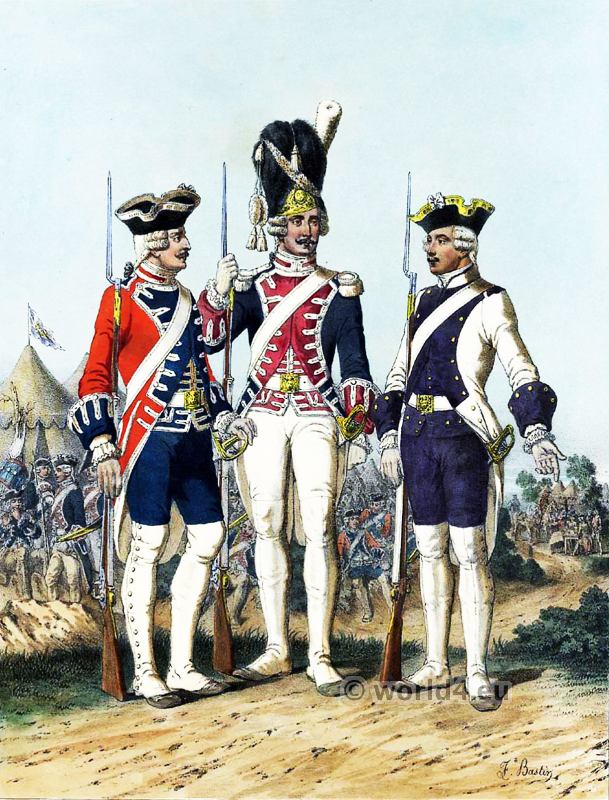Swiss Guard, French Guard, Grenadier. French Army uniforms. France Military costumes.