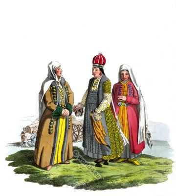 Nogais Tatar dress. Traditional Russian national costume.