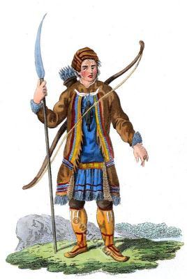 Traditional Evenk Hunting Dress. Russian Tungusian national dress.