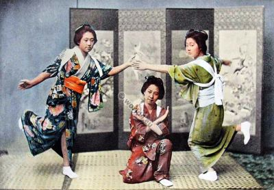 Family Dance in Japan. old fashioned kimono