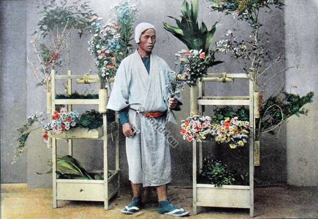 Flower seller. Old japan costume in 1895. Traditional Japan costumes.