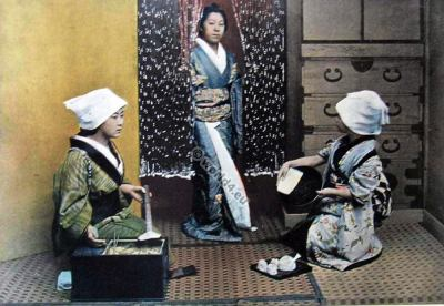 On the Day of scouring. Traditional Japan costumes. Old japanese kimonos.