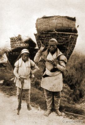 Traditional nepali, folk costumes, Cultivators costume, Darjeeling, Burlington Smith