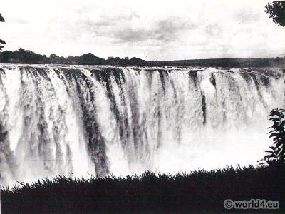 African landscape. Victoria Falls of the river Zambezi.
