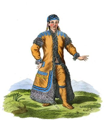 A Female Yakut garb. Sakha traditional folk dress. Traditional Russian national costume