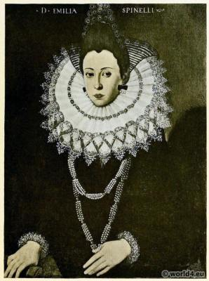 Reticella lace collar dress. Renaissance fashion. Needle point. 16th century.