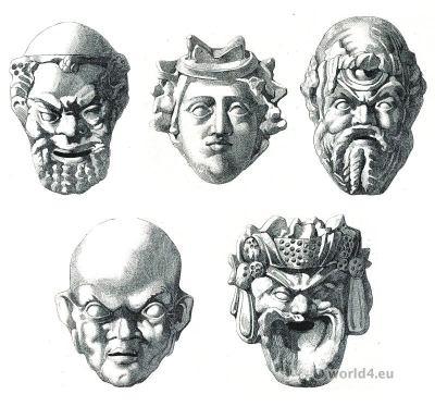 Greek tragedy and comedy masks. Greek pottery