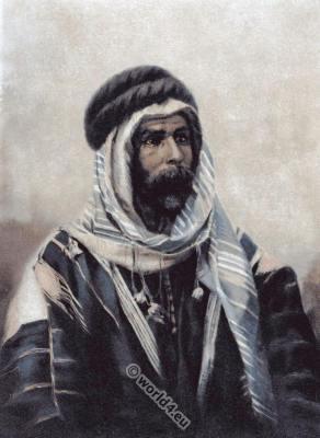 Bedouin sheikh burnoos, burnouse.  Traditional Arab costume.