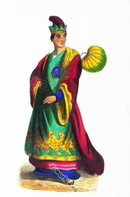 Noble Burmese male costume. Traditional Myanmar clothing. Asian dress