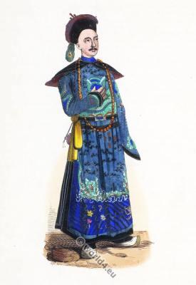 Traditional Chinese Mandarin dress. China nobility clothing. Asian costume.