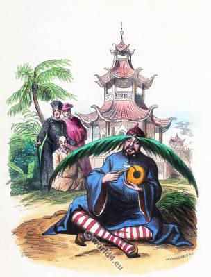 Chinese monks costumes. Bonzes chinois. Traditional China clothing. Asian dress