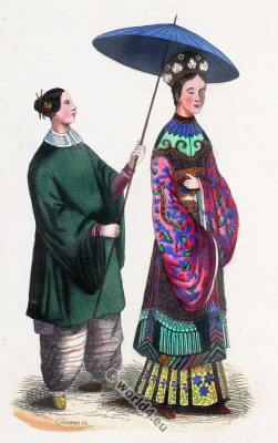 Traditional Chinese lady costume. China servant clothing. Asian dress.