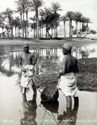 Egypt Fellahin costumes. Egyptian clothing. Water career dresses