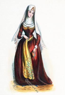 Traditional Georgian woman costume.  Georgia clothing. Asian dress
