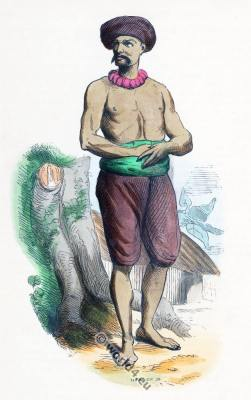 Hindustan costume. India ordinary man clothing. Asia dress
