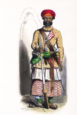 Sub-officer costume. Traditional India military clothing. Asian army dress