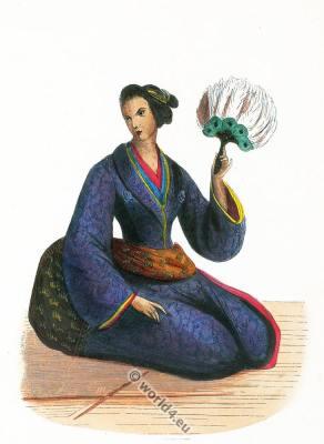 Japan kimono. Japan 19th century costume. Dame Japonaise.
