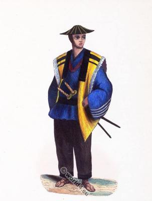 Traditional. Japanese soldier. uniform. Asian army. Japan clothing. sword