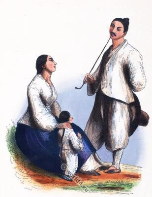 Japanese Fishermen's family costumes. Traditional Japan clothing. Asian dress