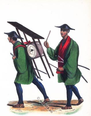 Japanese infantry costumes. Musician. Traditional Japan clothing. Asian army dress