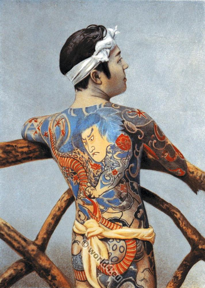 Fashion and history collection of cultural contributions for Japanese body tattoo