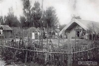 Maori village. Indigenous people. Aotearoa New Zealand costumes
