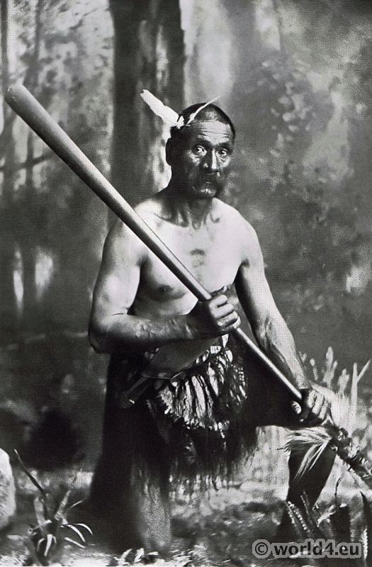 Maori Warrior with Taiaha Weapon