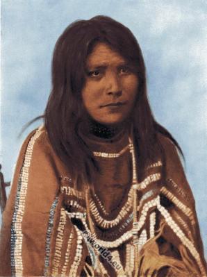 Sarcee indian woman dress. Traditional Tsuu T'ina costume. Tsuu T'ina First Nation clothing