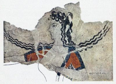 Palace of Knossos. Ancient greek dancing girl costume.