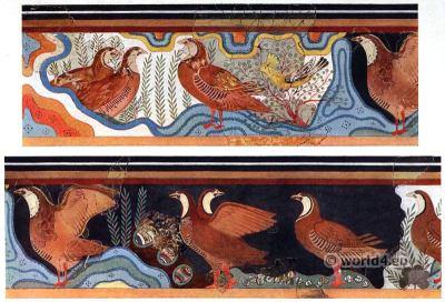 The Partridge Fresco. Pavillion of Caravanserai. Palace of Knossos interior. Ancient Minoan culture.