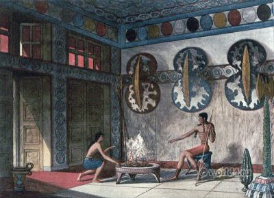 Palace of Knossos. Restored Interior view of inner section. Hall of Double Axes. Ancient Minoan culture.