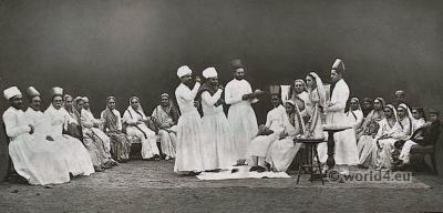 Parsee Marriage Ceremony. Parsis costumes. Zoroastrianism in India.