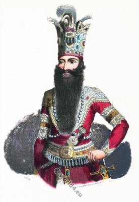 The Shah of Persia costume. Traditional Iran nobility clothing. Asian dress