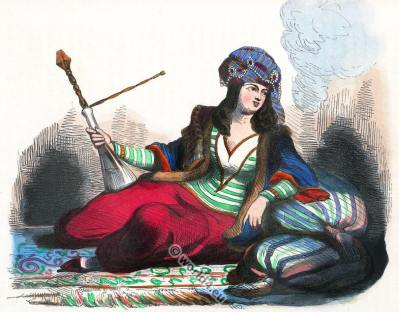 Persian lady. Hookah. Traditional Persia costume. Ancient Asian clothing.