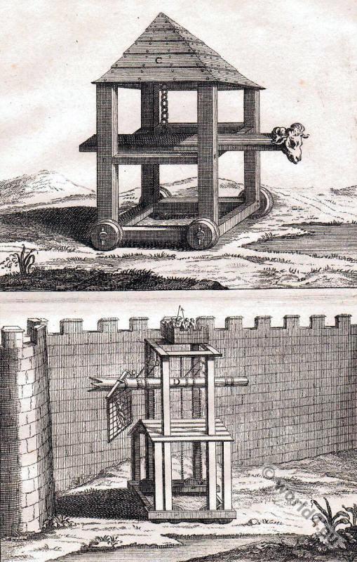 Roman battering ram. Ancient military warfare weapon.