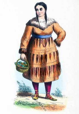 Traditional Russia clothing. Asia Kamchatka Peninsula Kamchadal costume.