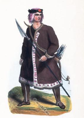 Russian Yakut costume. Traditional Yakutia clothing. Tribal dress