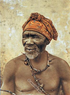 South African medicine man costume. Traditional Africa clothing