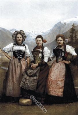 Switzerland, Swiss, girls, traditional, costumes, clothing