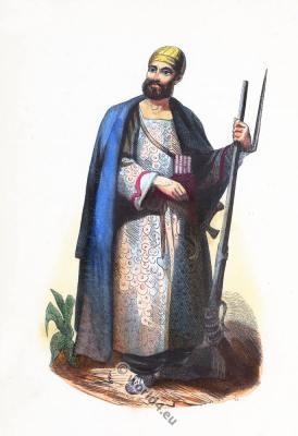 Syria Dura Europos costume. Traditional Arabia clothing.