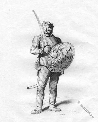 Tartar Tiger Guard costume. Chinese military dress. Ancient elite soldier.