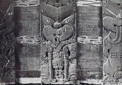 Maori Carvings New Zealand. Ornamental art.