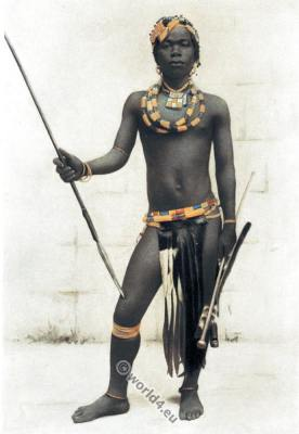 Zulu, warrior, dress, weapons, Traditional, South Africa, native, costume,