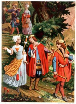 15th century costumes. Gothic clothing. Medieval burial scene. france farmers.