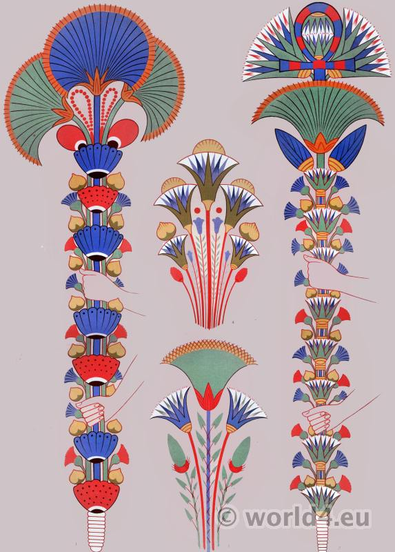 Ancient Egypt ornaments and decoration. Painting in the tombs. Plants & Flowers.
