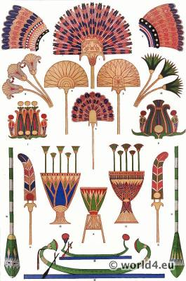 Ancient Egypt Pharaoh headdresses. Feather jewelry. Grammar of Ornament by Owen Jones.